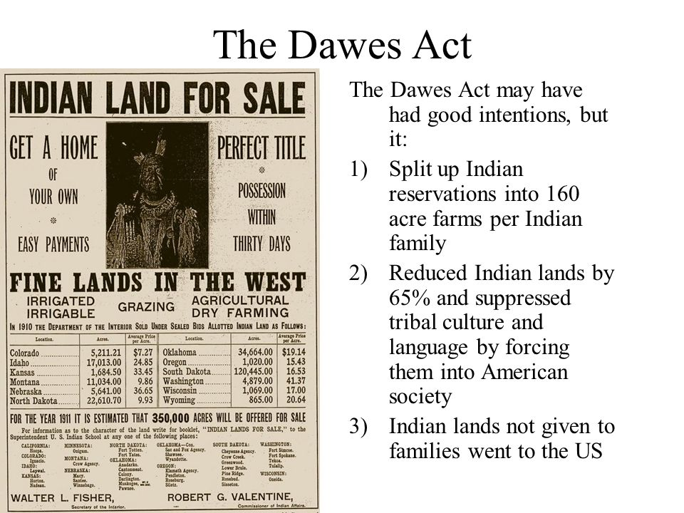 similarities the dawes act and the homestead act The dawes act of 1887 authorized the federal government to break up tribal  lands by partitioning them into individual plots only those native american  indians.