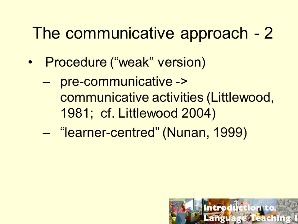The communicative approach - 2
