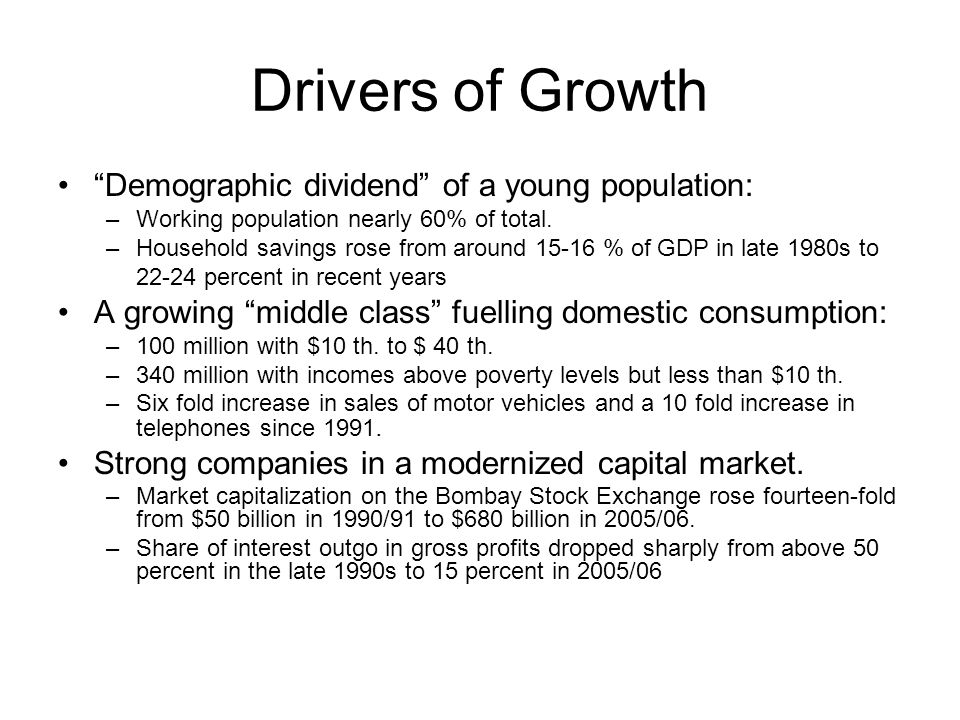 Drivers of Growth Demographic dividend of a young population:
