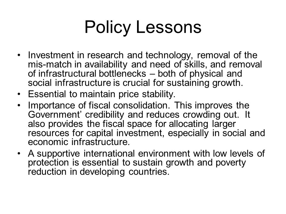 Policy Lessons