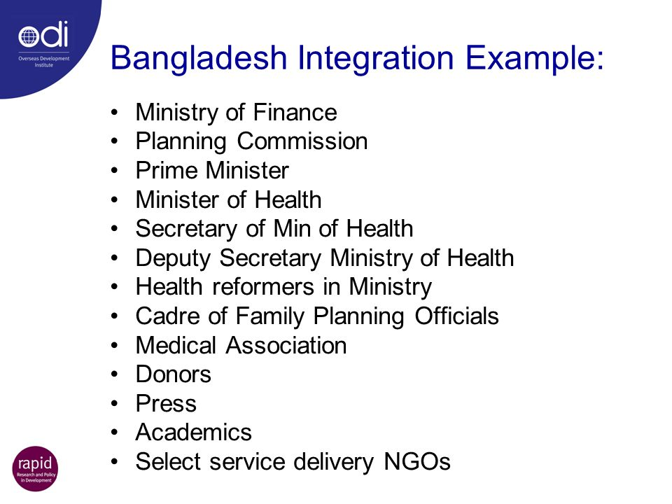 Bangladesh Integration Example: