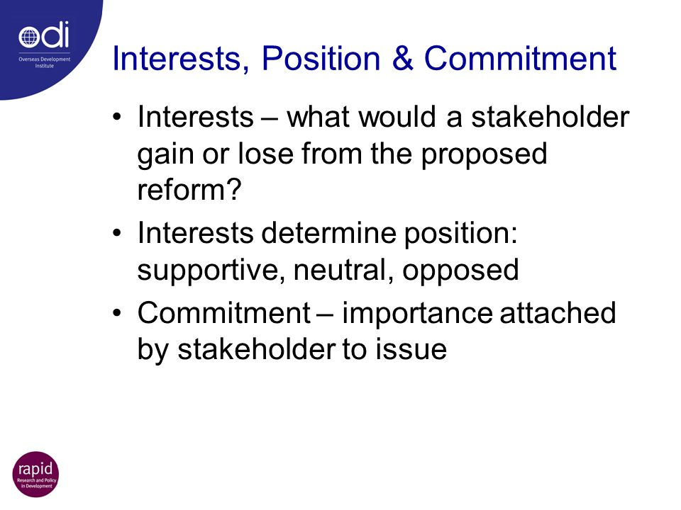 Interests, Position & Commitment