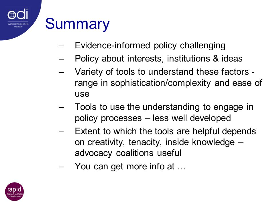 Summary Evidence-informed policy challenging