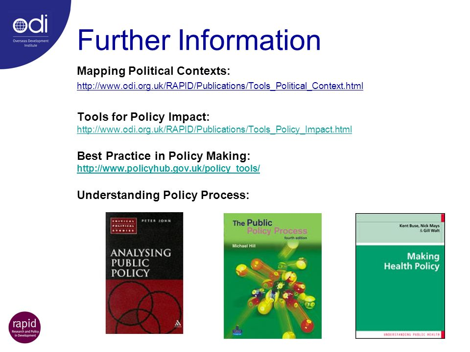 Further Information Mapping Political Contexts: