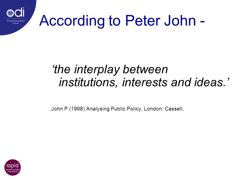 According to Peter John -