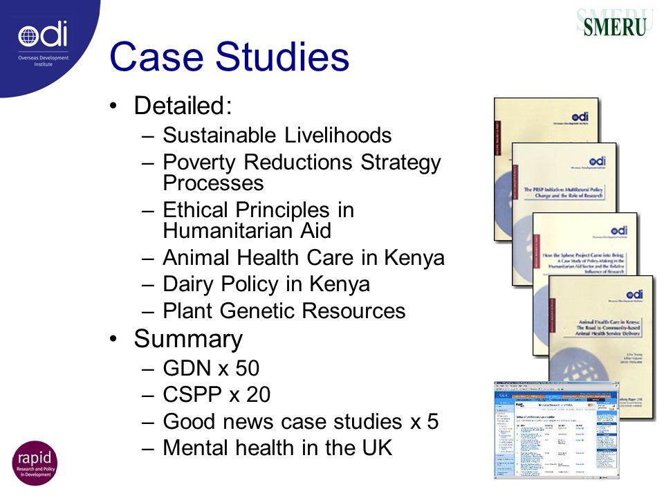 Case Studies Detailed: Summary Sustainable Livelihoods