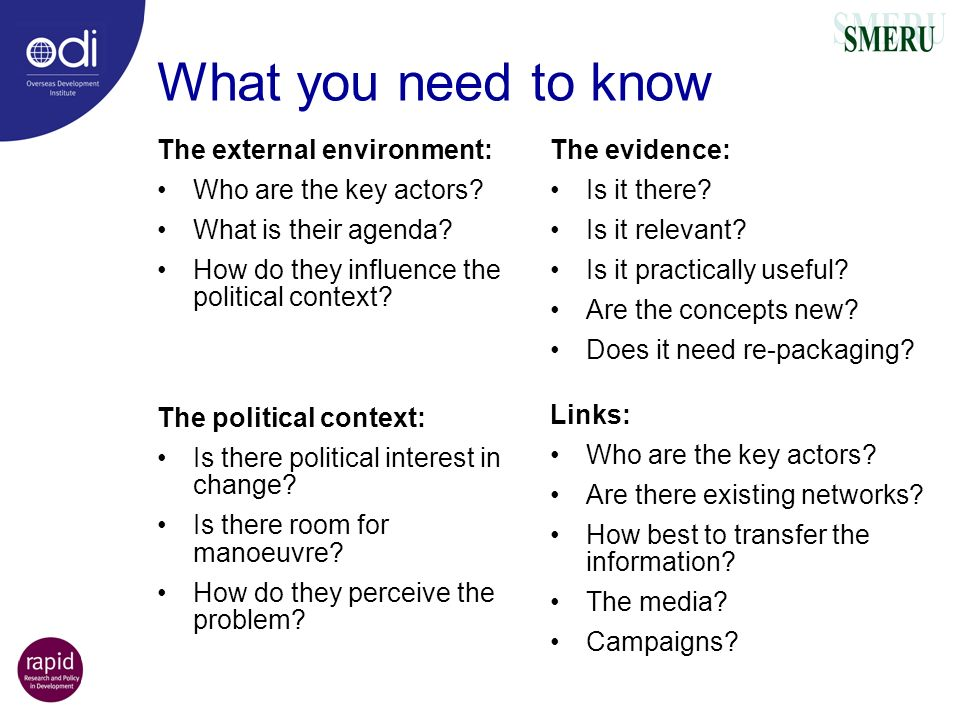 What you need to know The external environment: