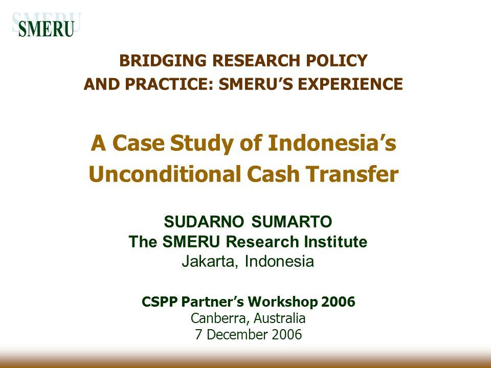 The SMERU Research Institute CSPP Partner's Workshop 2006