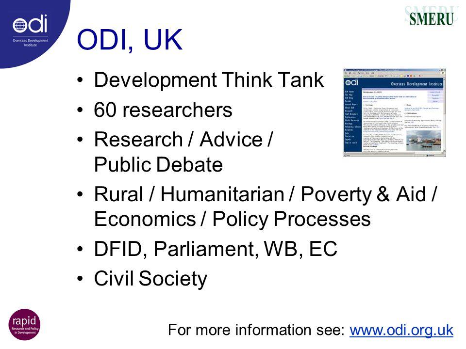 ODI, UK Development Think Tank 60 researchers