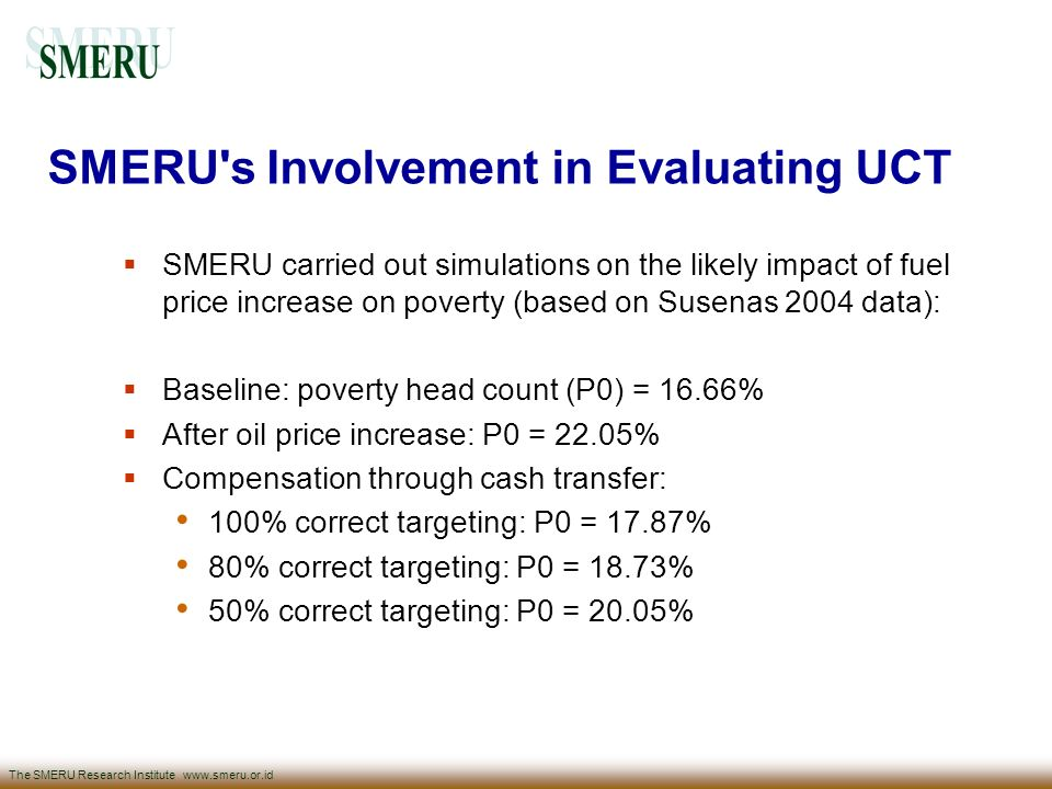 SMERU s Involvement in Evaluating UCT