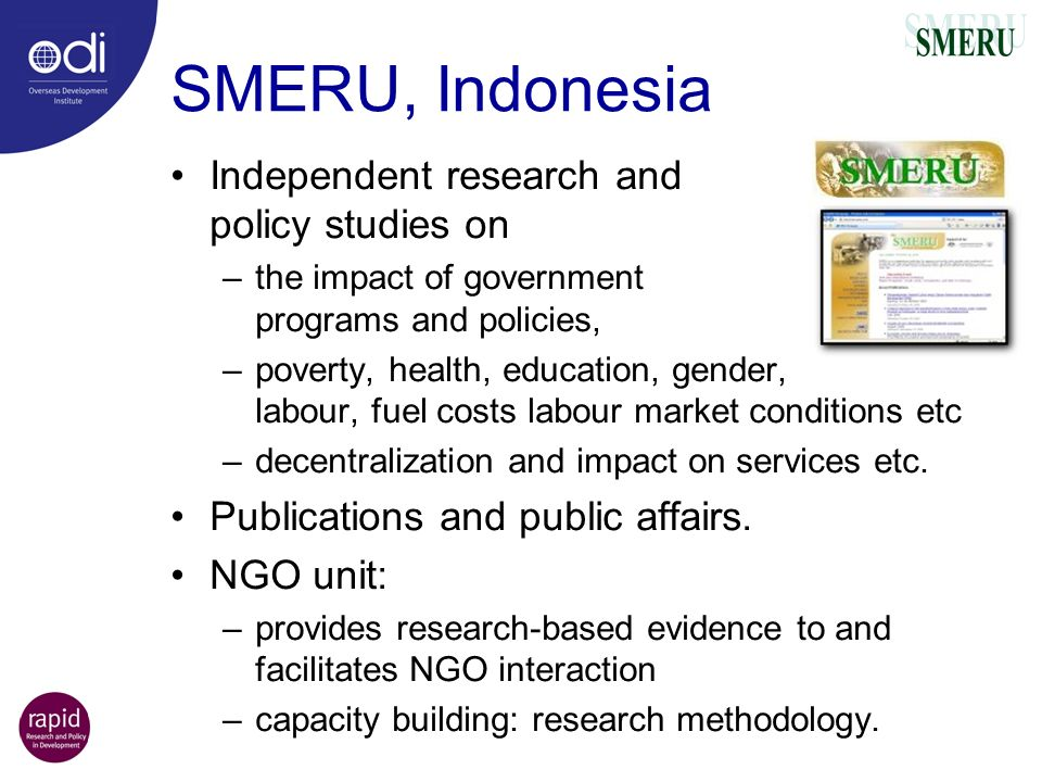SMERU, Indonesia Independent research and policy studies on