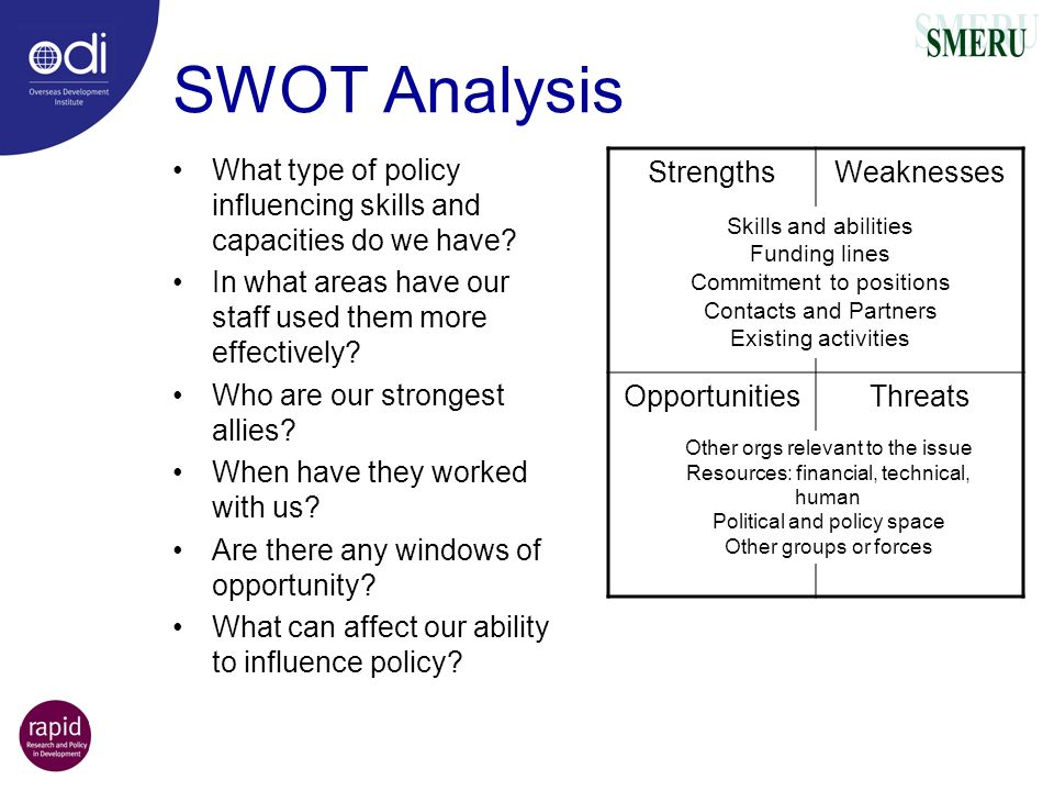 SWOT Analysis What type of policy influencing skills and capacities do we have In what areas have our staff used them more effectively