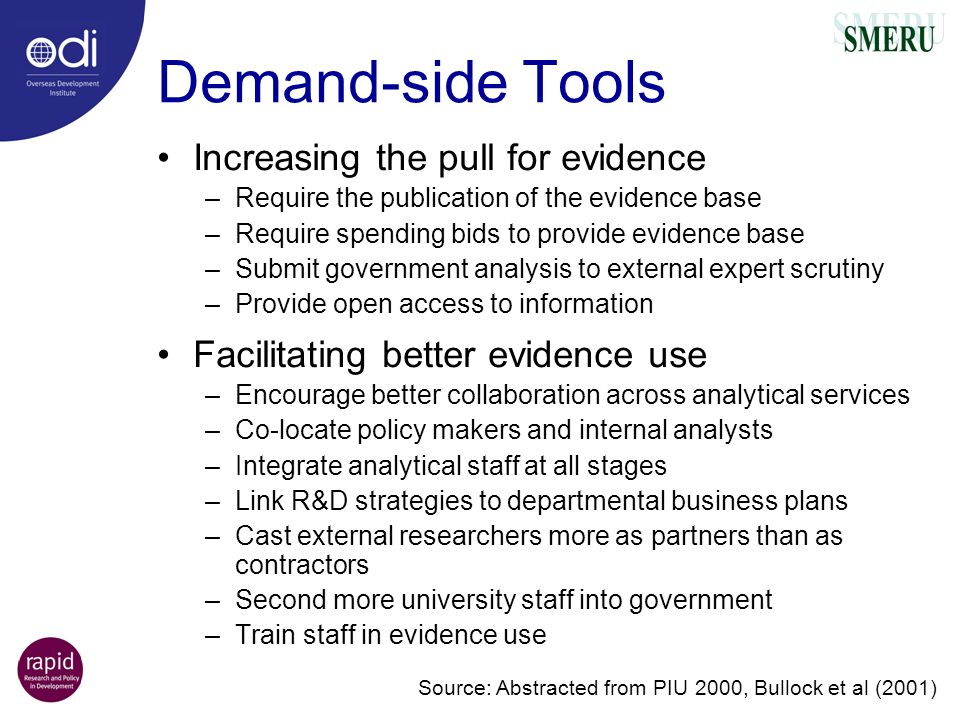 Demand-side Tools Increasing the pull for evidence