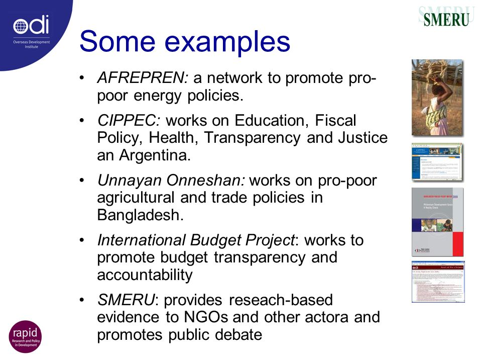Some examples AFREPREN: a network to promote pro-poor energy policies.