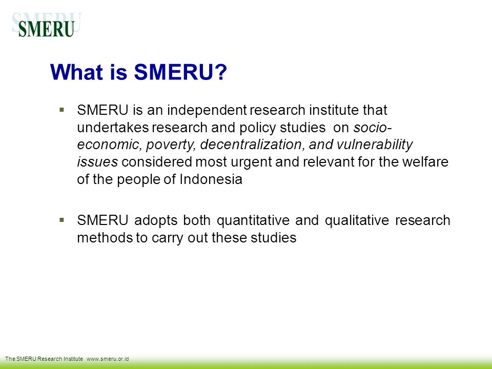 What is SMERU