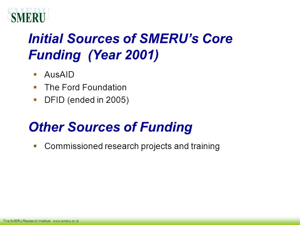 Initial Sources of SMERU's Core Funding (Year 2001)