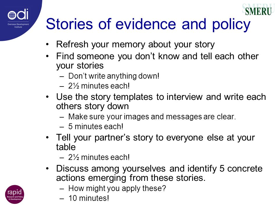 Stories of evidence and policy