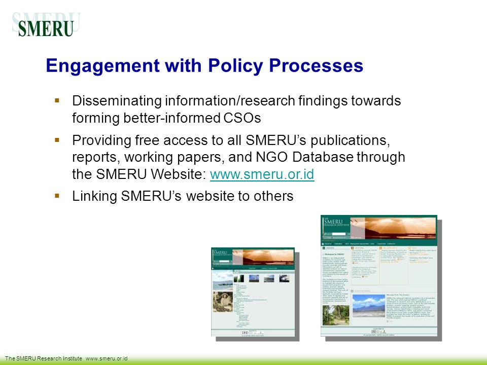Engagement with Policy Processes
