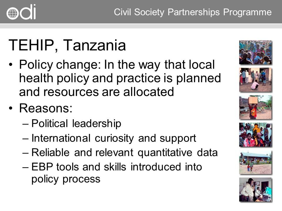 TEHIP, Tanzania Policy change: In the way that local health policy and practice is planned and resources are allocated.