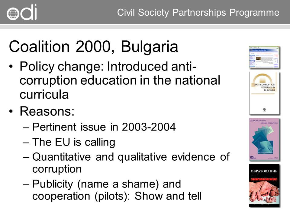 Coalition 2000, Bulgaria Policy change: Introduced anti-corruption education in the national curricula.