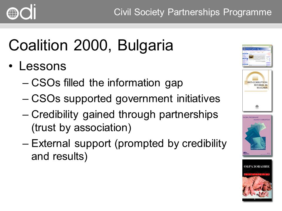 Coalition 2000, Bulgaria Lessons CSOs filled the information gap