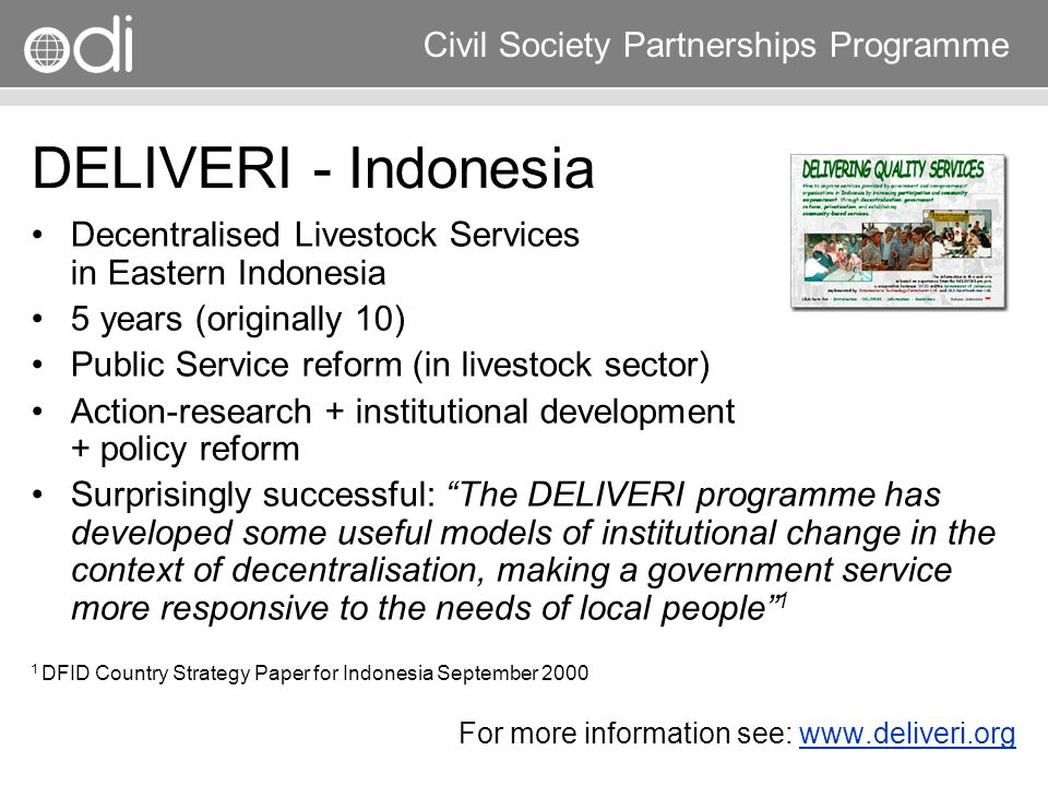 DELIVERI - Indonesia Decentralised Livestock Services in Eastern Indonesia. 5 years (originally 10)