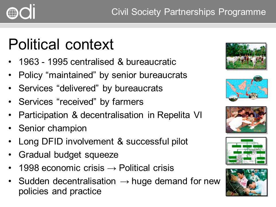 Political context 1963 - 1995 centralised & bureaucratic