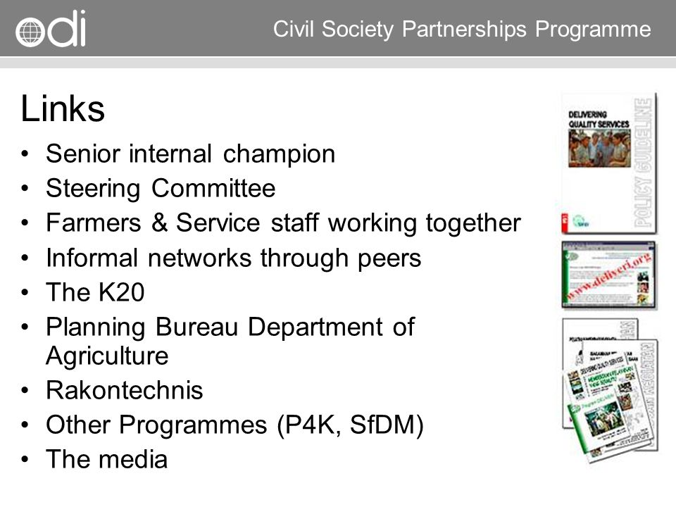 Links Senior internal champion Steering Committee