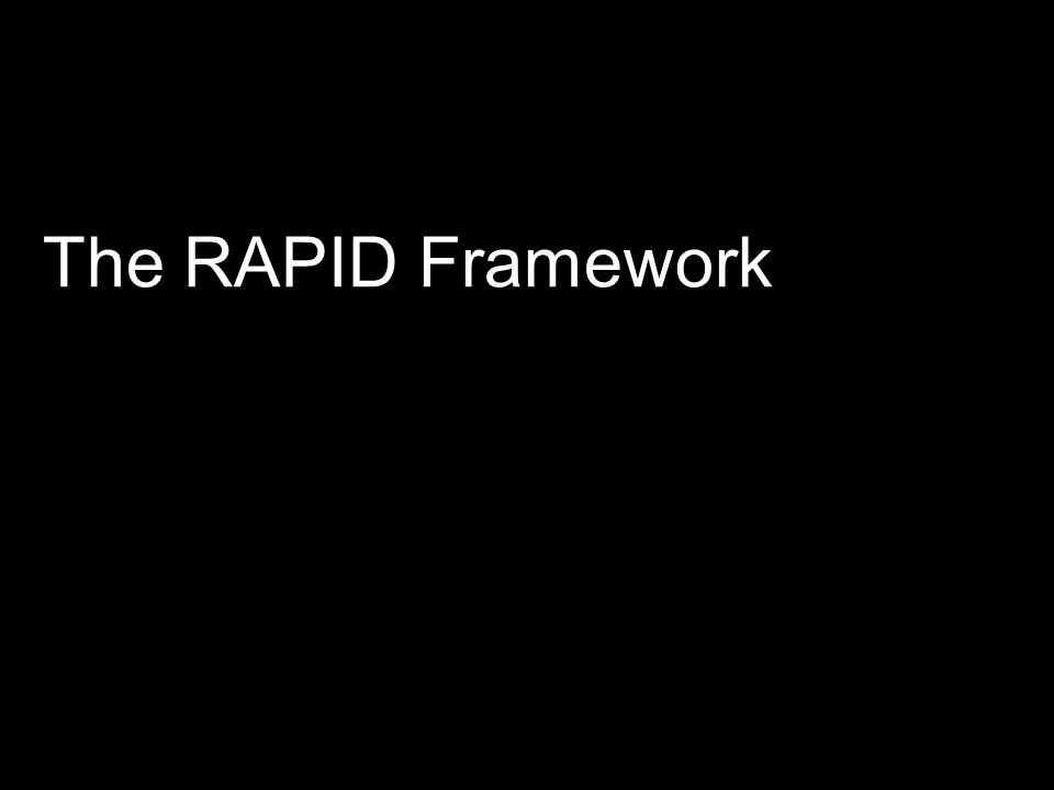 The RAPID Framework An initial review of the literature produced a long list of existing theory.
