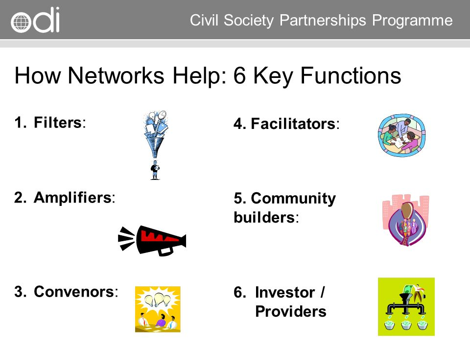 How Networks Help: 6 Key Functions