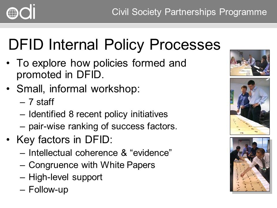 DFID Internal Policy Processes