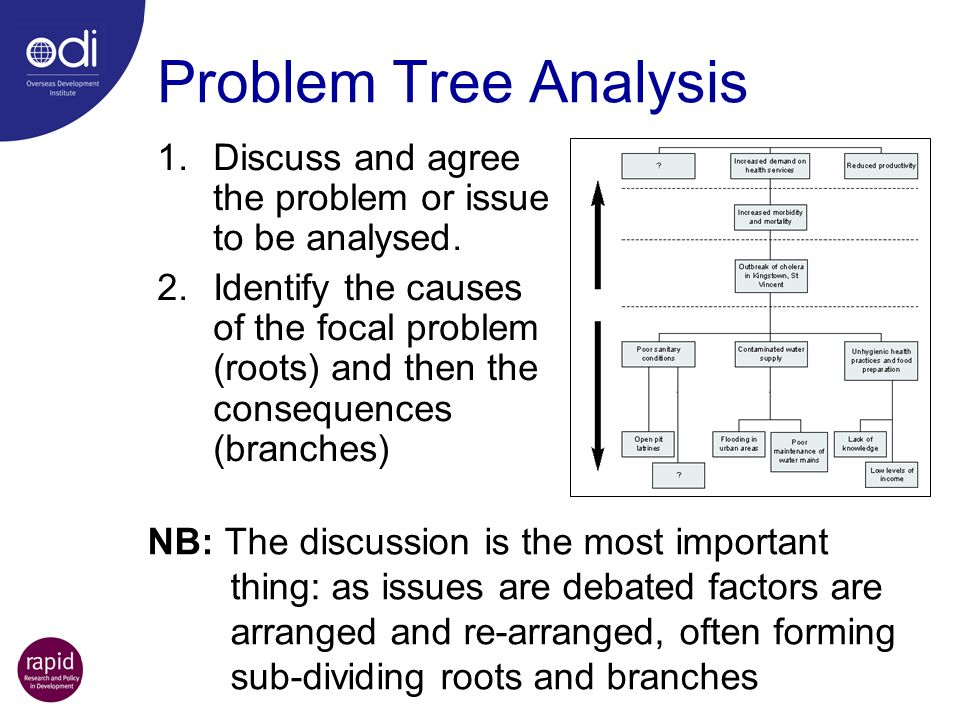 Problem Tree Analysis Discuss and agree the problem or issue to be analysed.