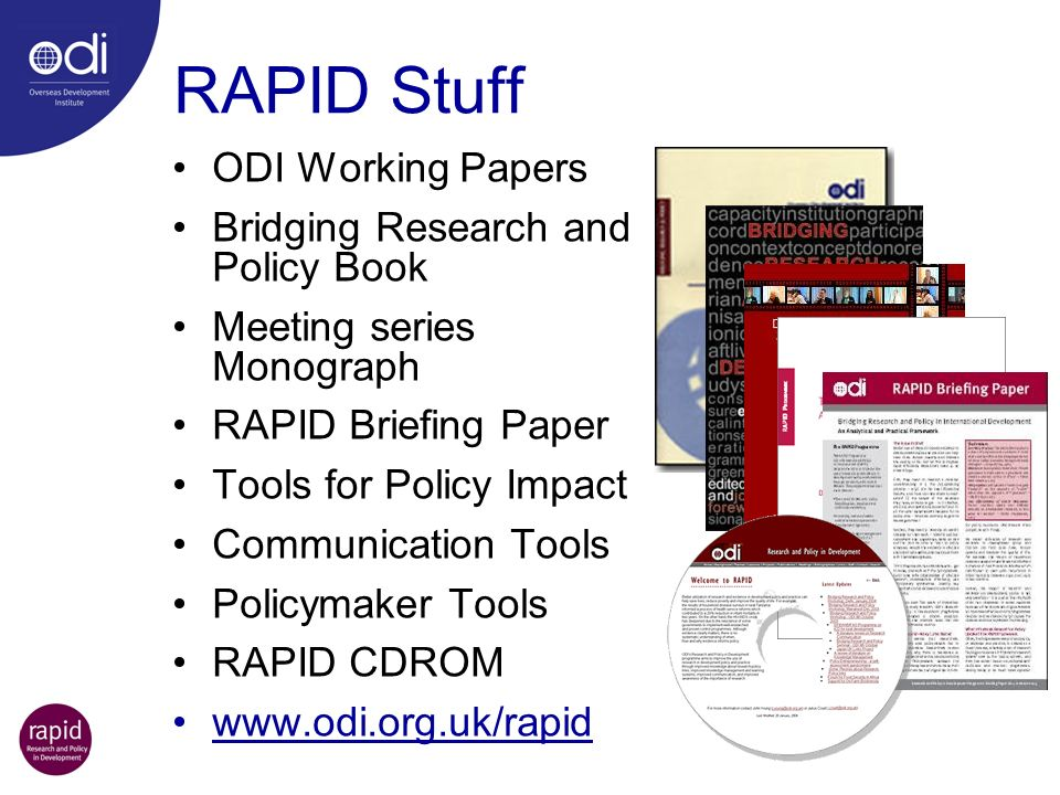 RAPID Stuff ODI Working Papers Bridging Research and Policy Book