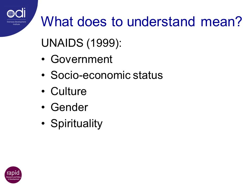 What does to understand mean