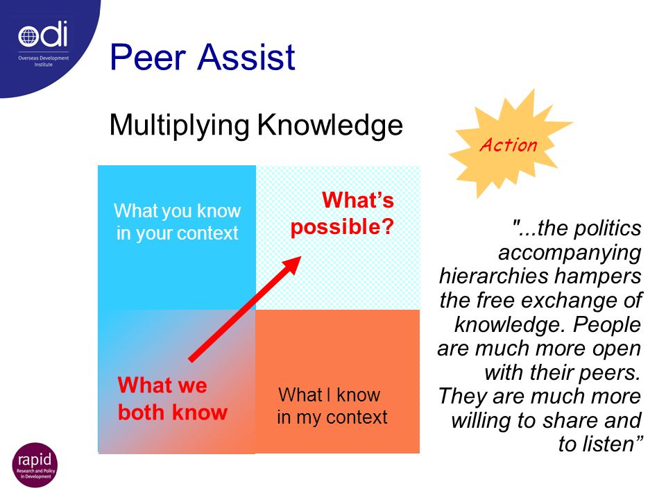 Peer Assist Multiplying Knowledge What's possible