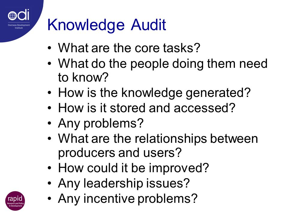 Knowledge Audit What are the core tasks