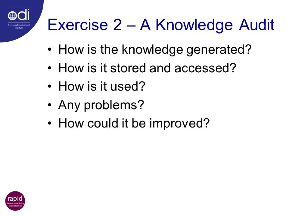 Exercise 2 – A Knowledge Audit
