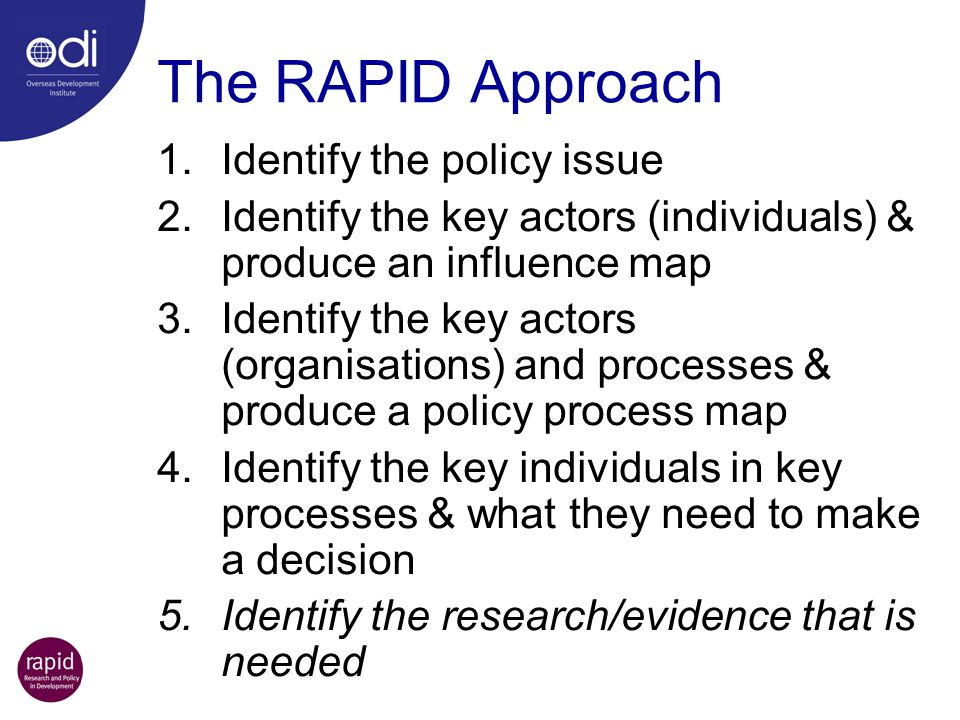 The RAPID Approach Identify the policy issue