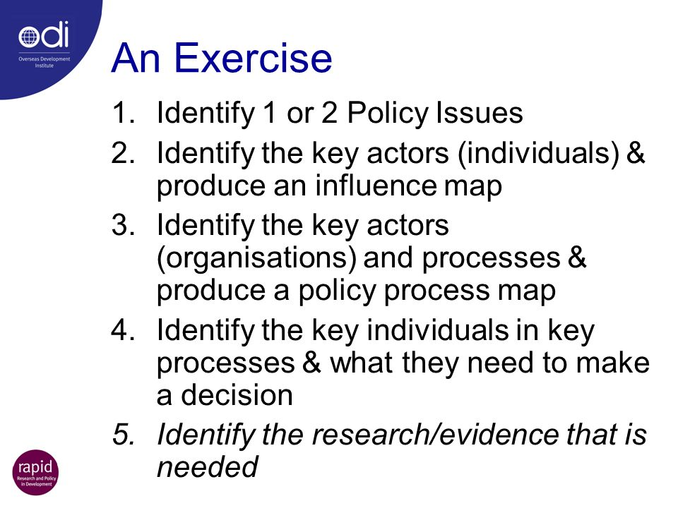 An Exercise Identify 1 or 2 Policy Issues