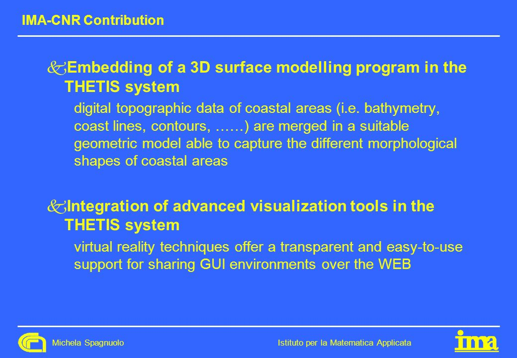 Embedding of a 3D surface modelling program in the THETIS system