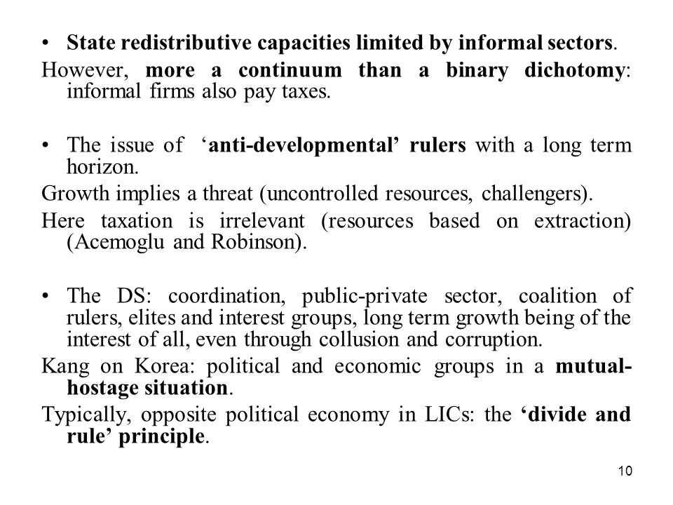 State redistributive capacities limited by informal sectors.