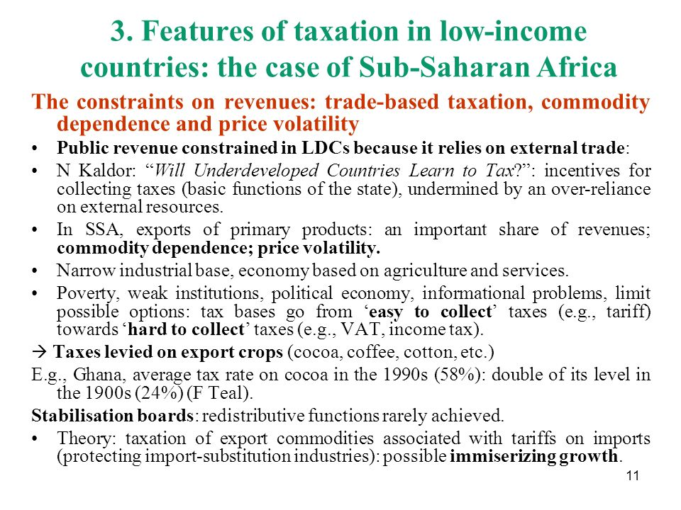 3. Features of taxation in low-income countries: the case of Sub-Saharan Africa