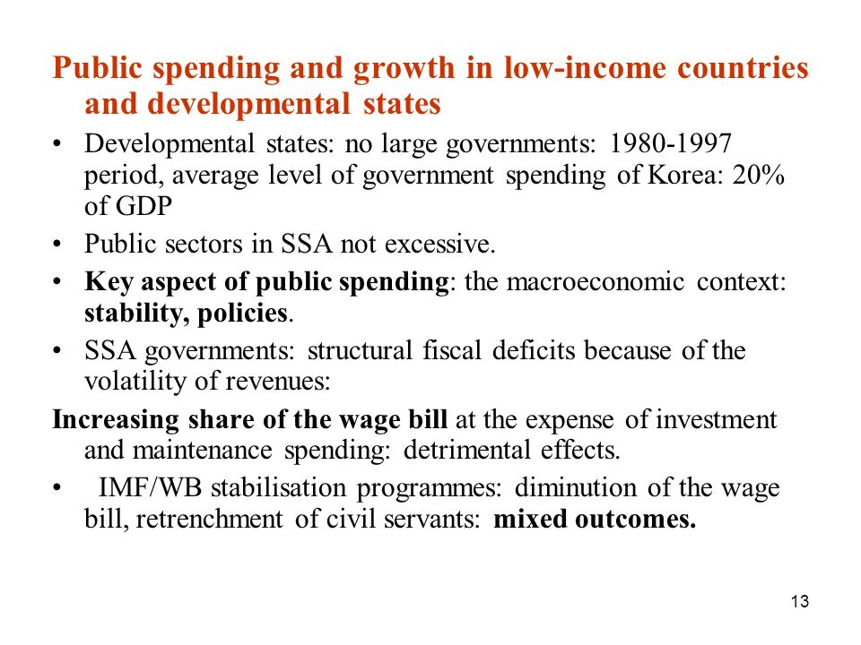 Public spending and growth in low-income countries and developmental states