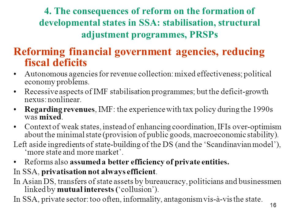 Reforming financial government agencies, reducing fiscal deficits