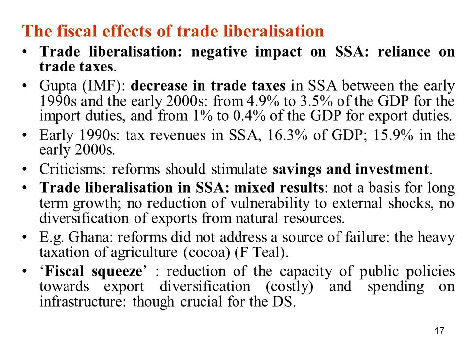 The fiscal effects of trade liberalisation