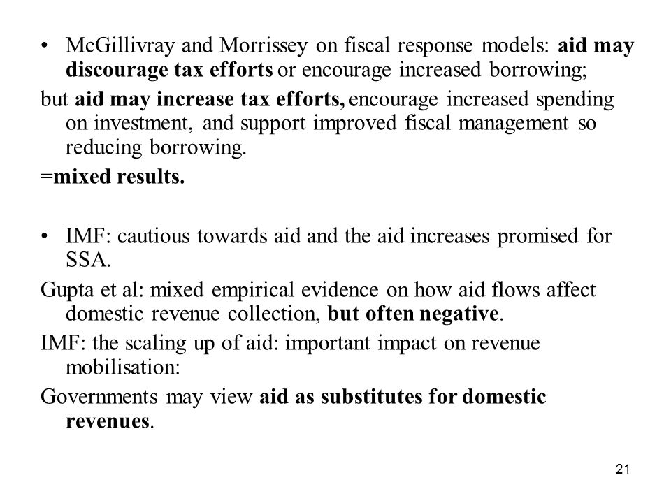 McGillivray and Morrissey on fiscal response models: aid may discourage tax efforts or encourage increased borrowing;