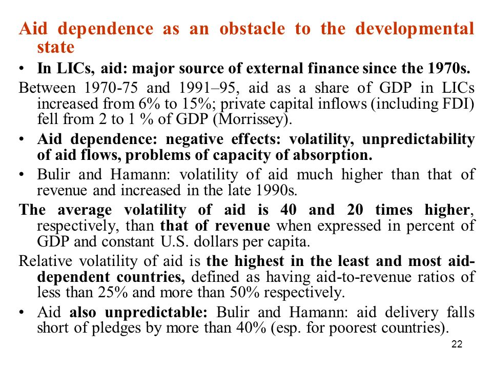 Aid dependence as an obstacle to the developmental state