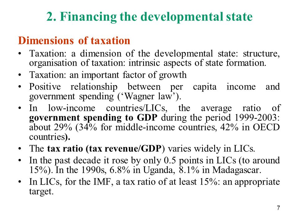 2. Financing the developmental state