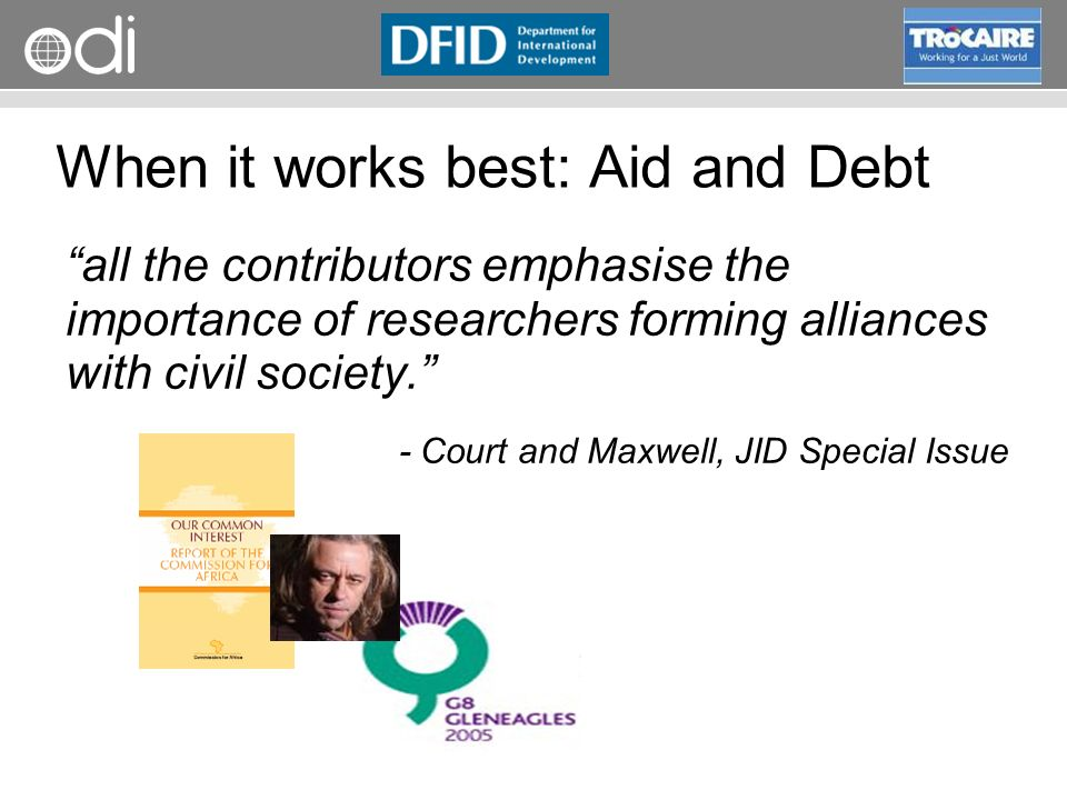 When it works best: Aid and Debt