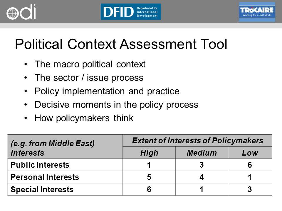 Political Context Assessment Tool